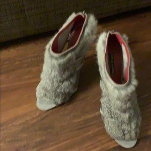 Genuine rabbit fur booties! Charles Jourdan Paris